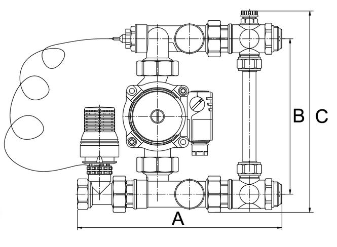 Размеры насосно-смесительного узла